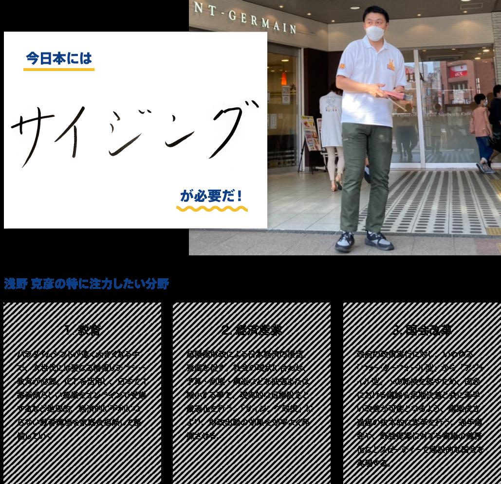 ●今日本にはサイジングが必要だ! ●浅野克彦が特に注力したい分野:教育「パラダイムシフトが速く大きくなる中で、次世代には更なる情報リテラシー教育が必要。ICTを活用し、日本で1番素晴らしい授業をオンラインで受講するなど地理的、経済的に不利にならない教育環境を家庭負担無しで整備していく」、経済産業「超積極財政による日本経済の復活、発展を促す。社会の現状に合わせ、予算・制度・構造などを拡張または縮小する事で、現実的な目標設定と最適化を行う、「サイジング政策」により、財政出動の効果を効率よく発揮させる。」、国会改革「政府の政策実行に対し、いわゆる「ウォーターフォール型」から「アジャイル型」への転換を促すため、国会における議論も早期決着と共に素早い改善が可能となるよう、議案成立過程の抜本的な変革を行う。通年議会や、野党提案に対する審議の義務化などスピーディーで建設的な国会を実現する。」