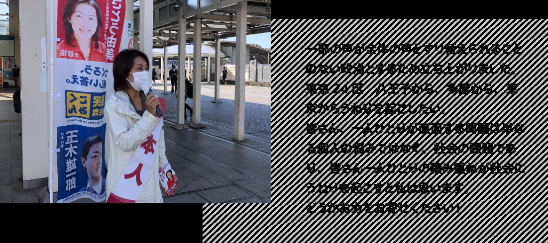 東京24区 八王子から、多摩から、東京からうねりを起こしたい。皆さん、一人ひとりが直面する問題は単なる個人の悩みではなく、社会の課題であり、皆さん一人ひとりの積み重ねが社会にうねりを起こすと私は思います。どうかお力をお寄せください!